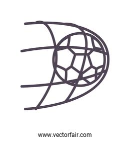 Soccer ball goal line style icon vector design