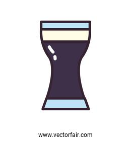 Beer glass line and fill style icon vector design