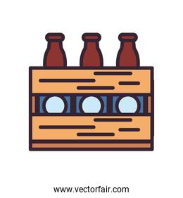 Beer bottles inside box line and fill style icon vector design