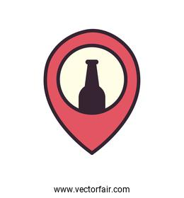 Beer bottle on gps mark line and fill style icon vector design