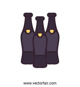 Beer bottles line and fill style icon vector design