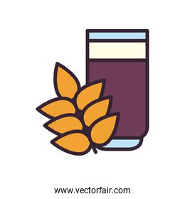 Beer glass and wheat ear line and fill style icon vector design