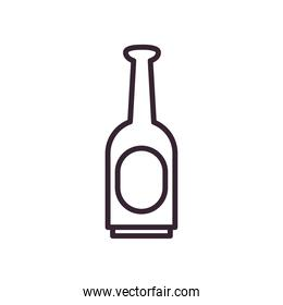 Beer bottle line style icon vector design