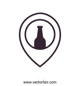 Beer bottle on gps mark line style icon vector design