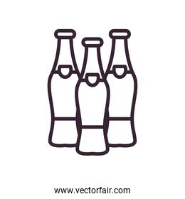 Beer bottles line style icon vector design