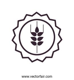 Wheat ear on seal stamp line style icon vector design