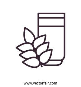 Beer glass and wheat ear line style icon vector design