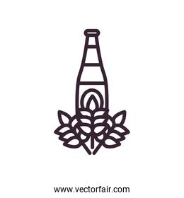 Beer bottle with wheat ears line style icon vector design