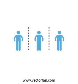Social distancing between human avatars flat style icon vector design