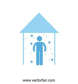 Social distancing of human avatar at house flat style icon vector illustration
