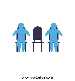 Social distancing between avatars on chairs flat style icon vector design