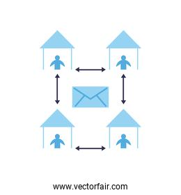 Social distancing between human avatars at houses flat style icon vector design