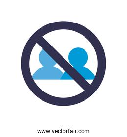 Social distancing between avatars with ban flat style icon vector design