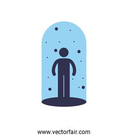 Social distancing of avatar and virus flat style icon vector design