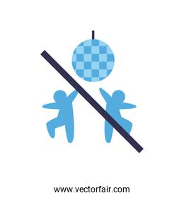 Social distancing between avatars and disco sphere with ban flat style icon vector design