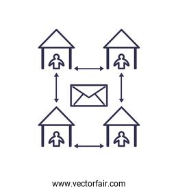 Social distancing between human avatars at houses line style icon vector design