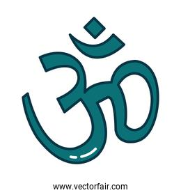 Hinduism aum letter line and fill style icon vector design