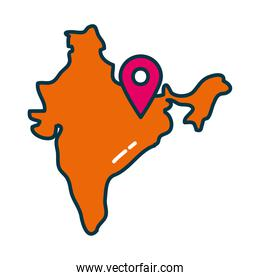Indian map with gps mark line and fill style icon vector design