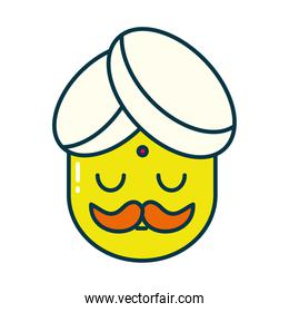 Indian man line and fill style icon vector design
