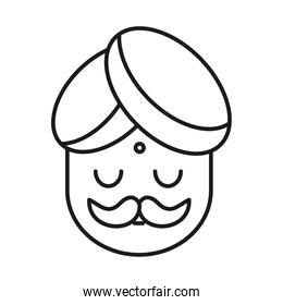 Indian man line style icon vector design