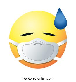 sweat emoji with mask gradient style icon vector design