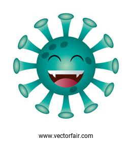 happy covid 19 virus emoji gradient style icon vector design