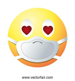 in love emoji with mask gradient style icon vector design