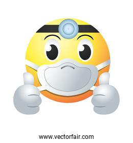doctor emoji with mask gradient style icon vector design