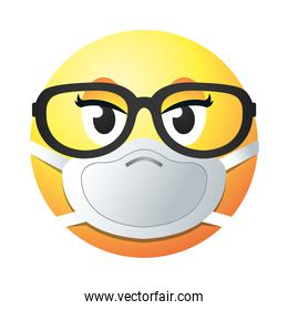 emoji with mask and glasses gradient style icon vector design