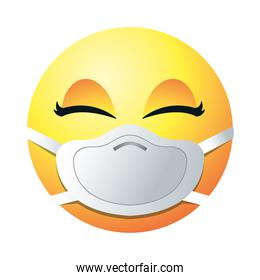 female emoji with mask gradient style icon vector design