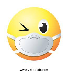 wink emoji with mask gradient style icon vector design