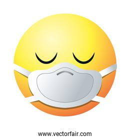 dissapointed emoji with mask gradient style icon vector design