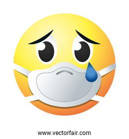 crying emoji with mask gradient style icon vector design