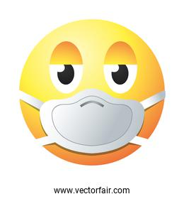 tired emoji with mask gradient style icon vector design