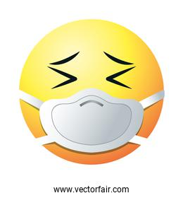 persevering emoji with mask gradient style icon vector design