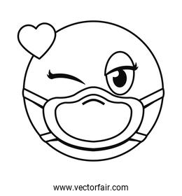 in love emoji with mask line style vector illustration