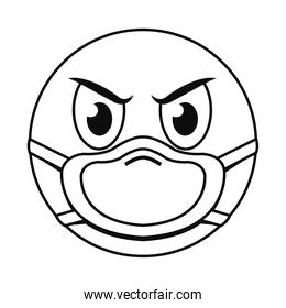 bad emoji with mask line style icon vector design