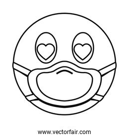 in love emoji with mask line style icon vector design