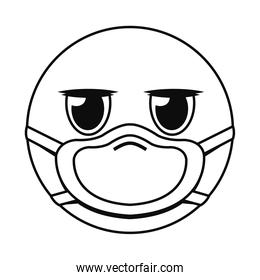 expressionless emoji with mask line style icon vector design