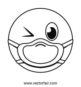 wink emoji with mask line style over white icon vector design