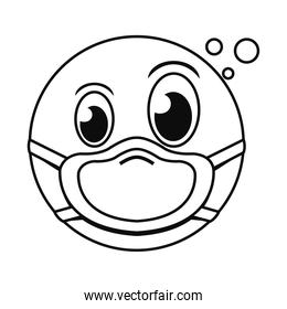 thinking emoji with mask line style icon vector design