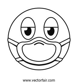 tired emoji with mask line style icon vector design