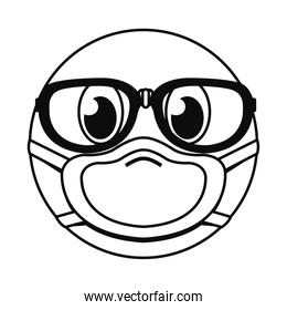 emoji with mask and glasses line style icon vector design