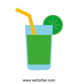 cocktail with lemon flat style icon vector design