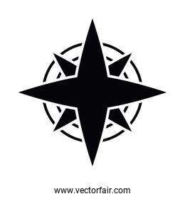 compass wind rose silhouette style icon vector design