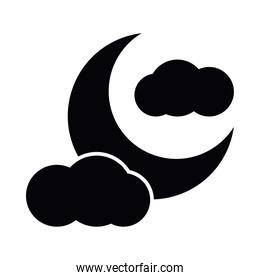 moon with clouds silhouette style icon vector design