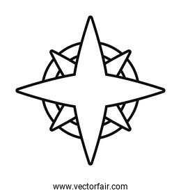 compass wind rose line style icon vector design