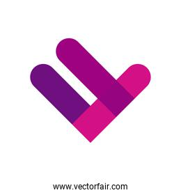 geometric and abstract check mark flat style icon vector design