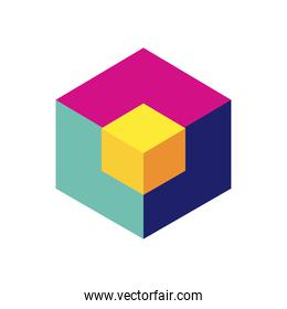 geometric and abstract 3d cube flat style icon vector design