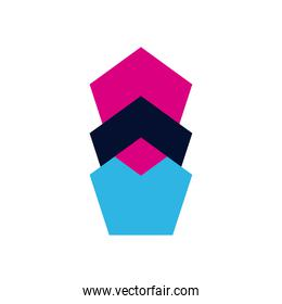 geometric and abstract pentagons flat style icon vector design